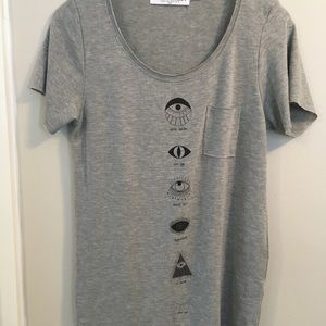 Project Social T Shirts Sz Sm Evil Eye NWOT Grey
